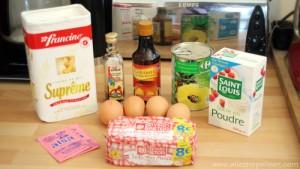 Ingrédients pour recette gâteau renversé à l'ananas