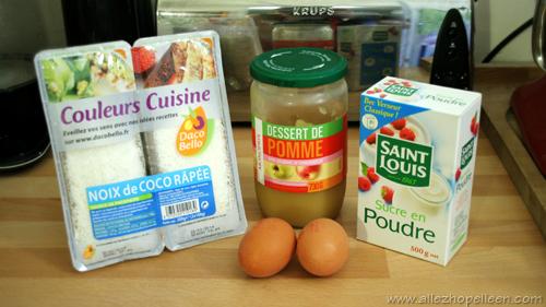 Ingrédients pour recette de rochers coco