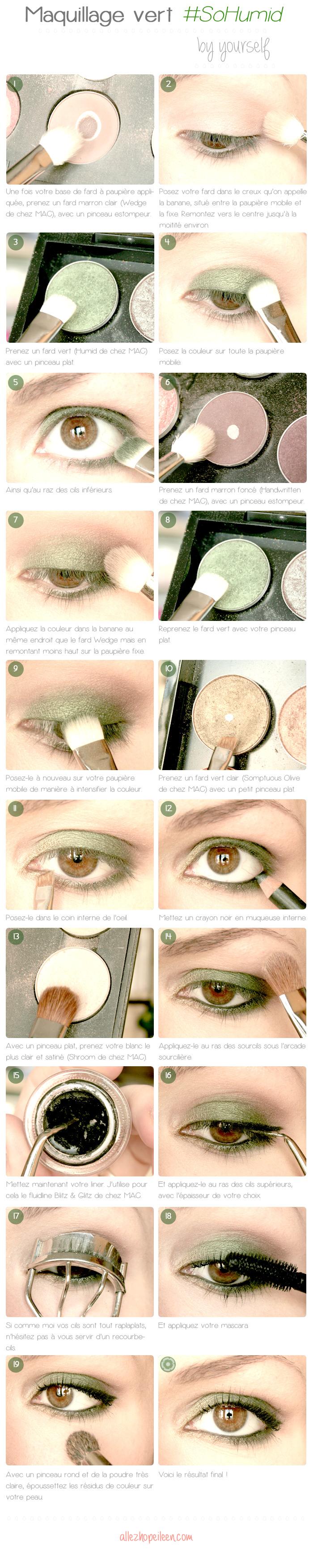 tuto maquillage vert mac