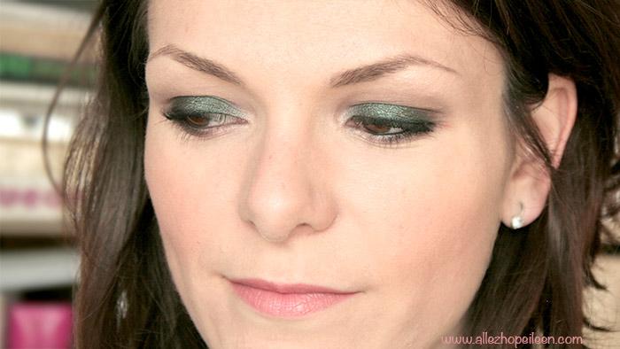 tuto maquillage vert avec club de chez MAC