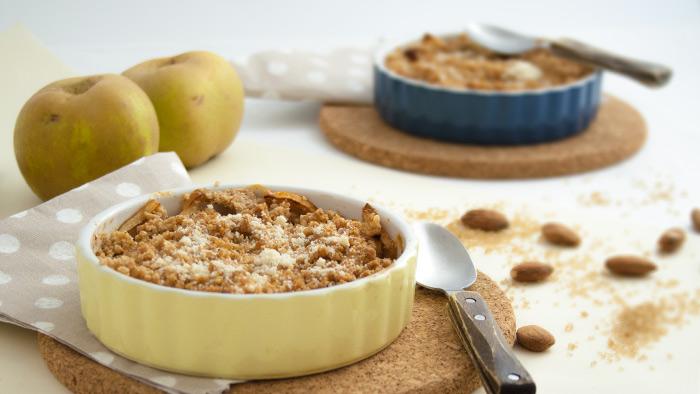 Recette crumble pommes puree d'amandes completes
