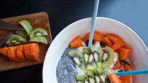 Healthy bowl fromage blanc et graines de chia